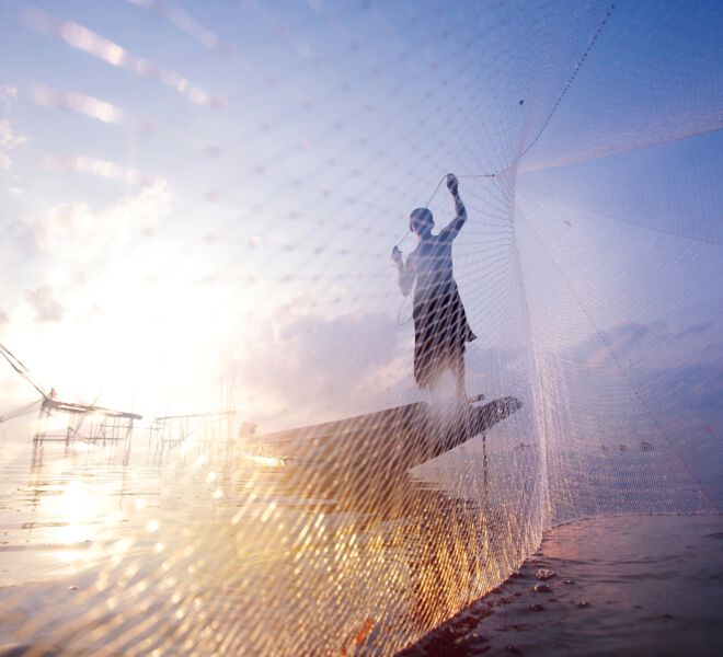 Fishing On The Ocean With Net